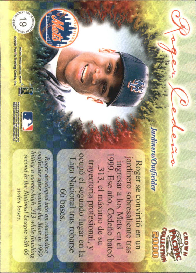 2000 Pacific Crown Collection Latinos of the Major Leagues #19 Roger Cedeno back image