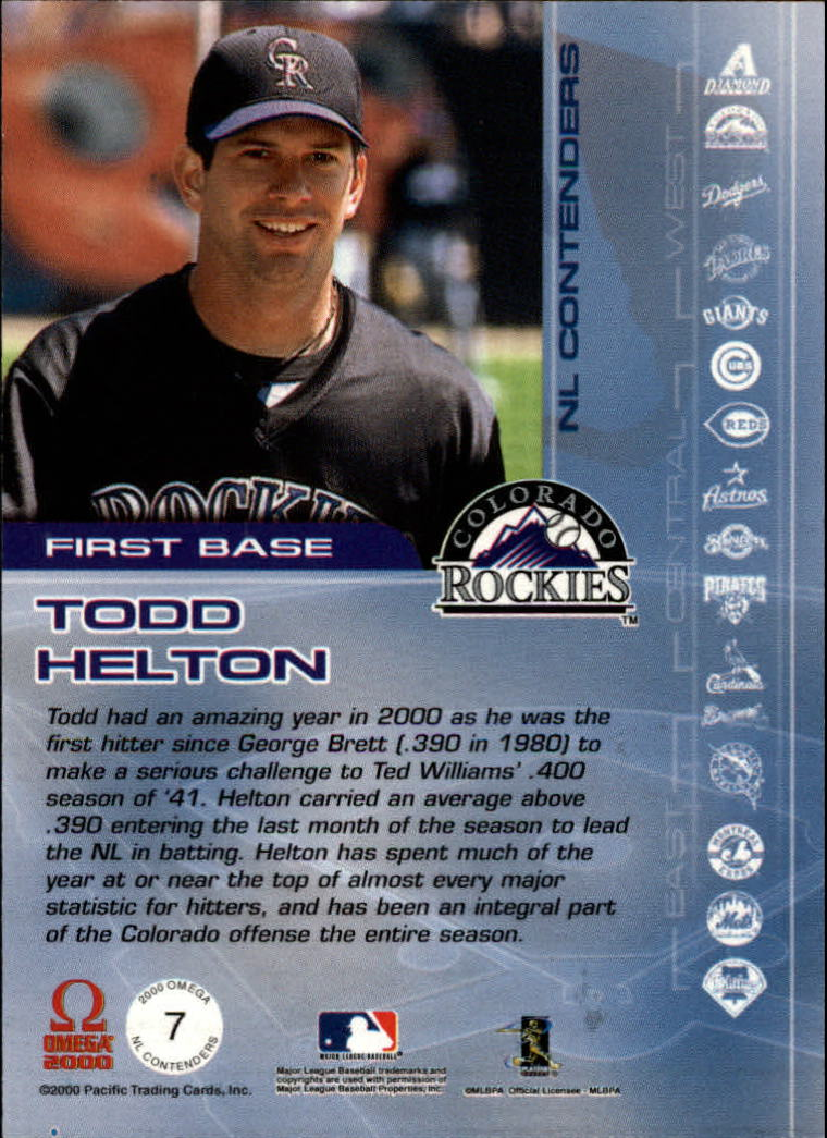 2000 Pacific Omega AL/NL Contenders #NL7 Todd Helton back image