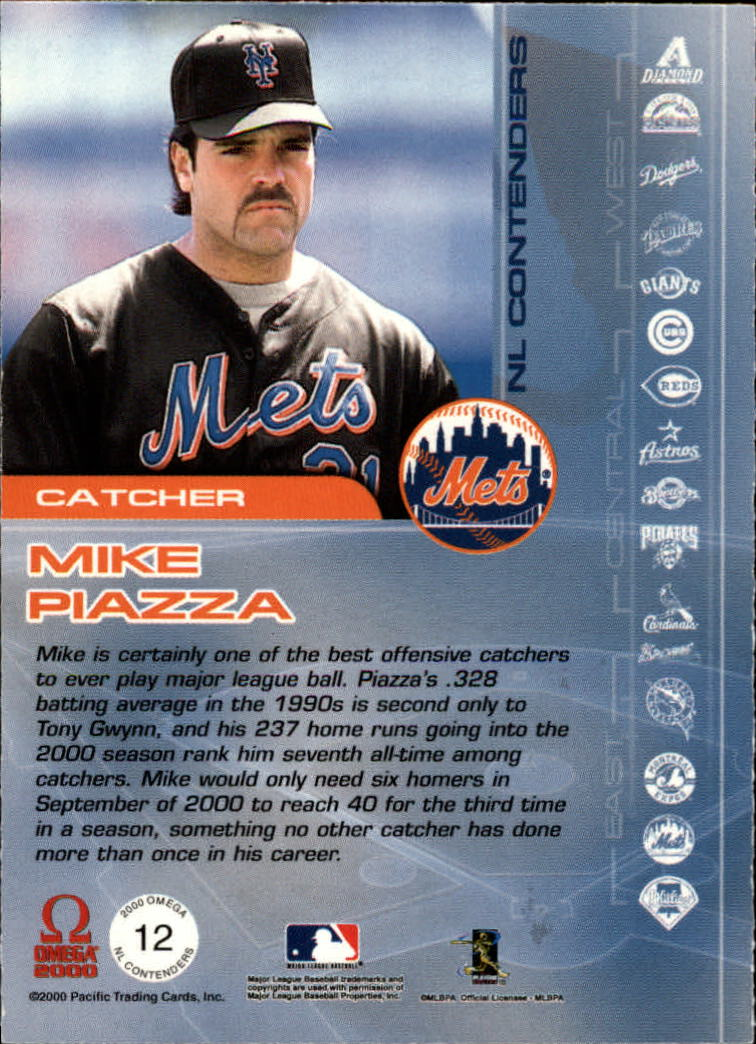 2000 Pacific Omega AL/NL Contenders #NL12 Mike Piazza back image