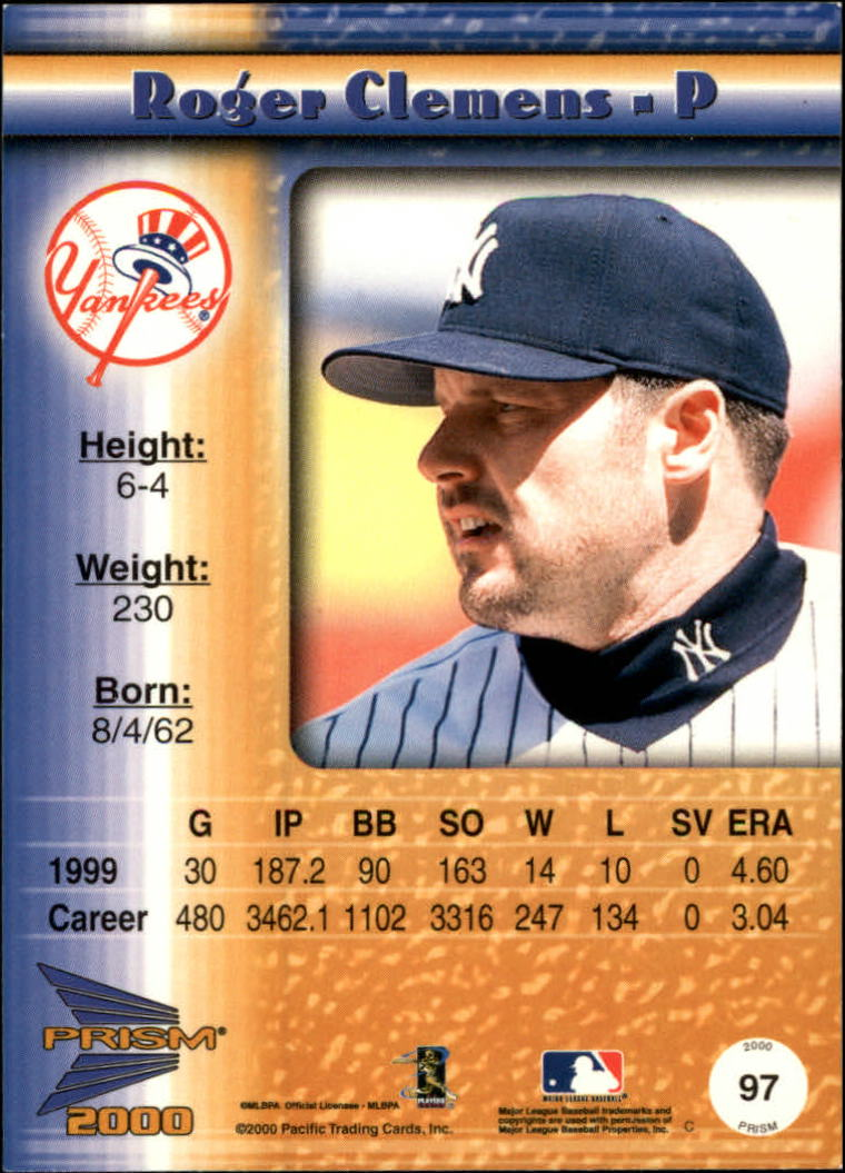 2000 Pacific Prism Drops Silver #97 Roger Clemens * back image