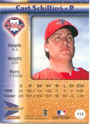 2000 Pacific Prism Holographic Gold #113 Curt Schilling back image