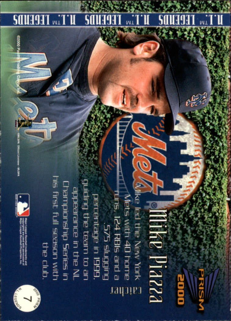 2000 Pacific Prism AL/NL Legends #N7 Mike Piazza back image