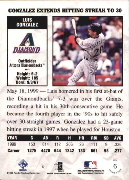 2000 Private Stock #6 Luis Gonzalez back image