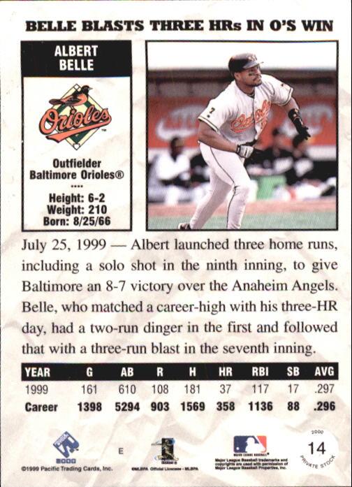 2000 Private Stock #14 Albert Belle back image