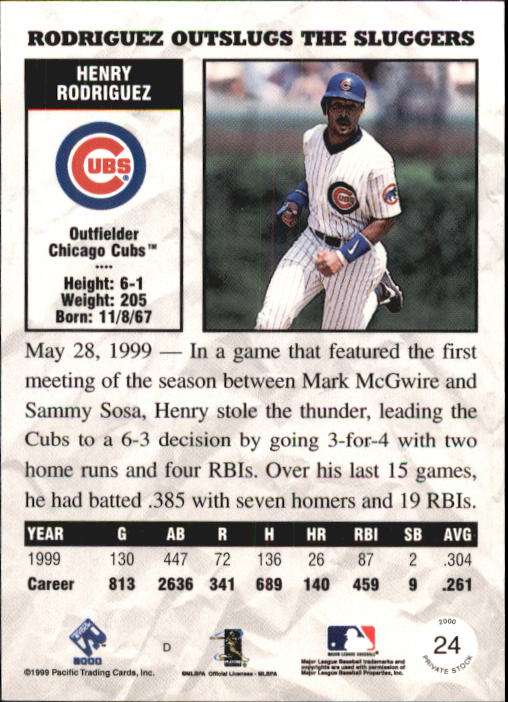 2000 Private Stock #24 Henry Rodriguez back image
