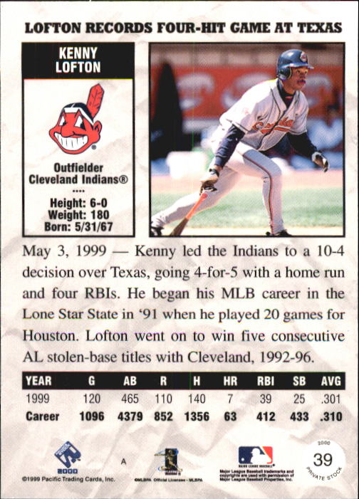 2000 Private Stock #39 Kenny Lofton back image