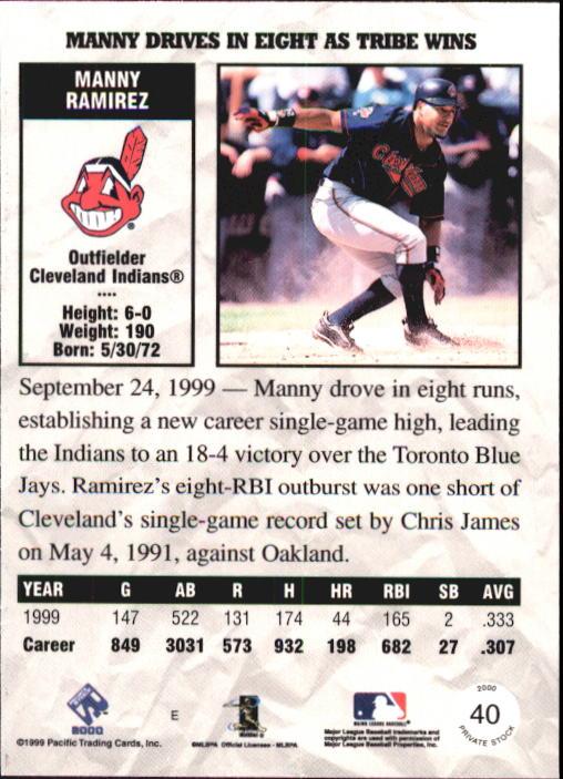 2000 Private Stock #40 Manny Ramirez back image