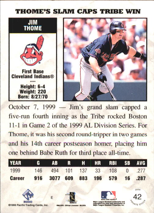 2000 Private Stock #42 Jim Thome back image