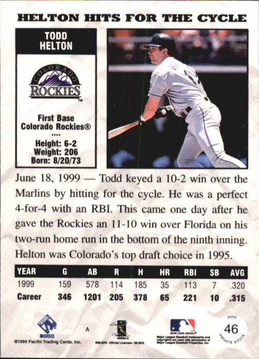 2000 Private Stock #46 Todd Helton back image