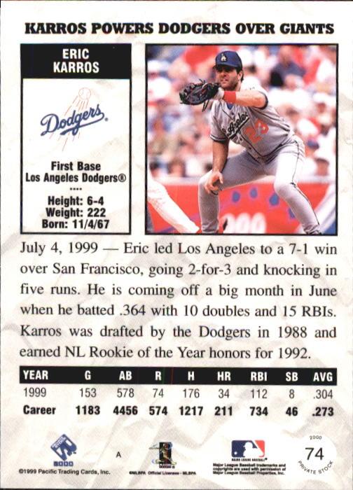 2000 Private Stock #74 Eric Karros back image