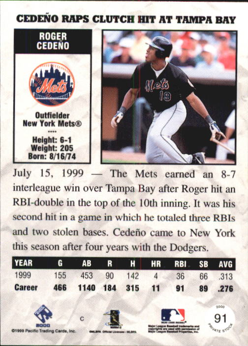 2000 Private Stock #91 Roger Cedeno back image