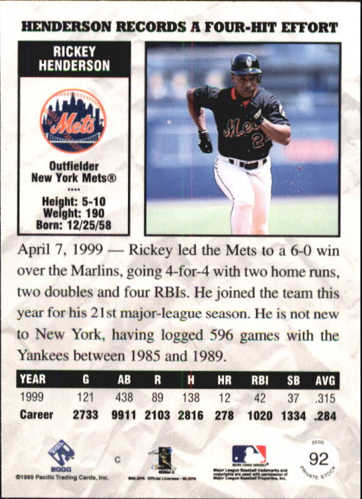 2000 Private Stock #92 Rickey Henderson back image