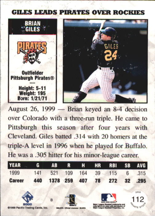 2000 Private Stock #112 Brian Giles back image