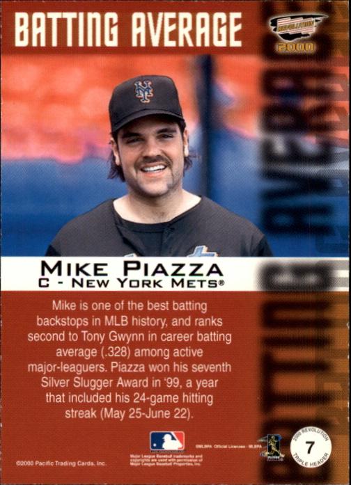 2000 Revolution Triple Header #7 Mike Piazza back image
