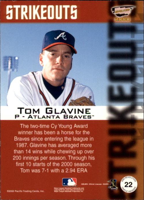 2000 Revolution Triple Header Platinum Blue #22 Tom Glavine back image