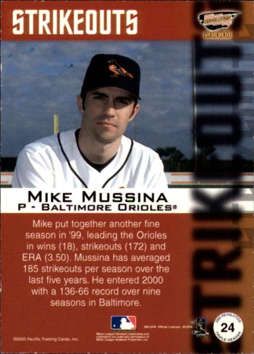 2000 Revolution Triple Header Platinum Blue #24 Mike Mussina back image