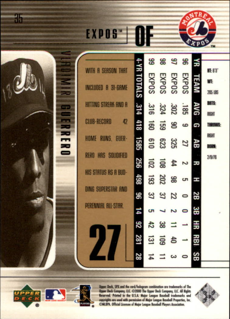 2000 SPx #35 Vladimir Guerrero back image