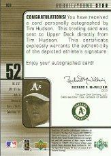 2000 SPx #109 Tim Hudson AU/1500 back image