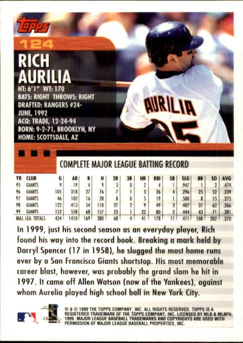 2000 Topps #124 Rich Aurilia back image