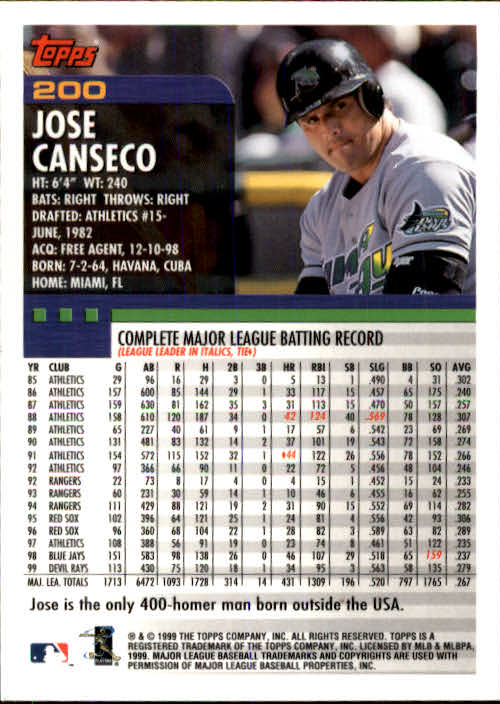 2000 Topps #200 Jose Canseco back image