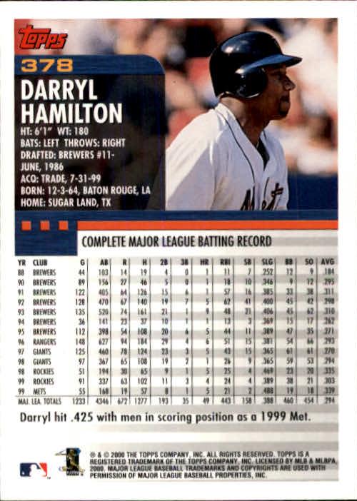 2000 Topps #378 Darryl Hamilton back image