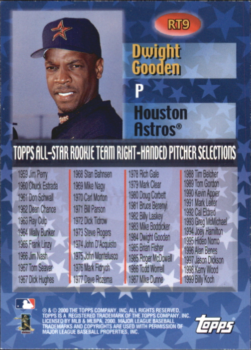 2000 Topps All-Star Rookie Team #RT9 Dwight Gooden back image