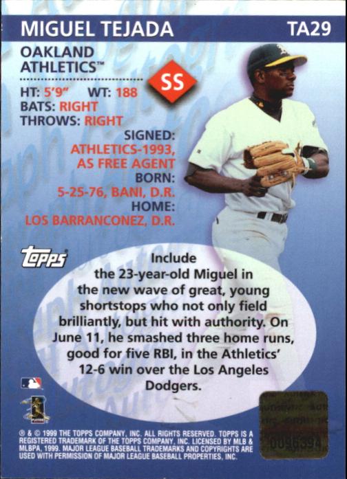 2000 Topps Autographs #TA29 Miguel Tejada D back image