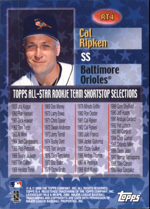 2000 Topps Limited All-Star Rookie Team #RT4 Cal Ripken back image