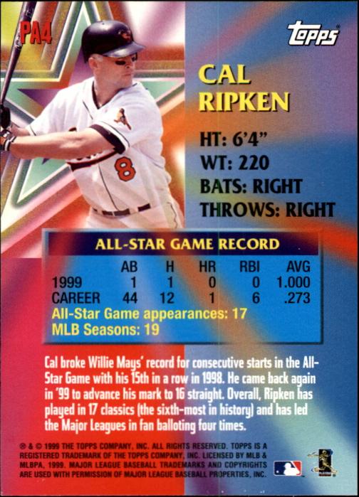 2000 Topps Limited Perennial All-Stars #PA4 Cal Ripken back image