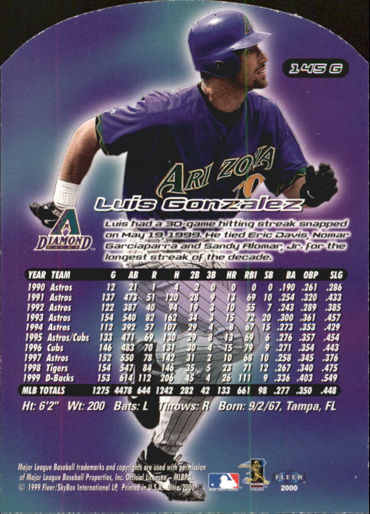 2000 Ultra Gold Medallion #145 Luis Gonzalez back image