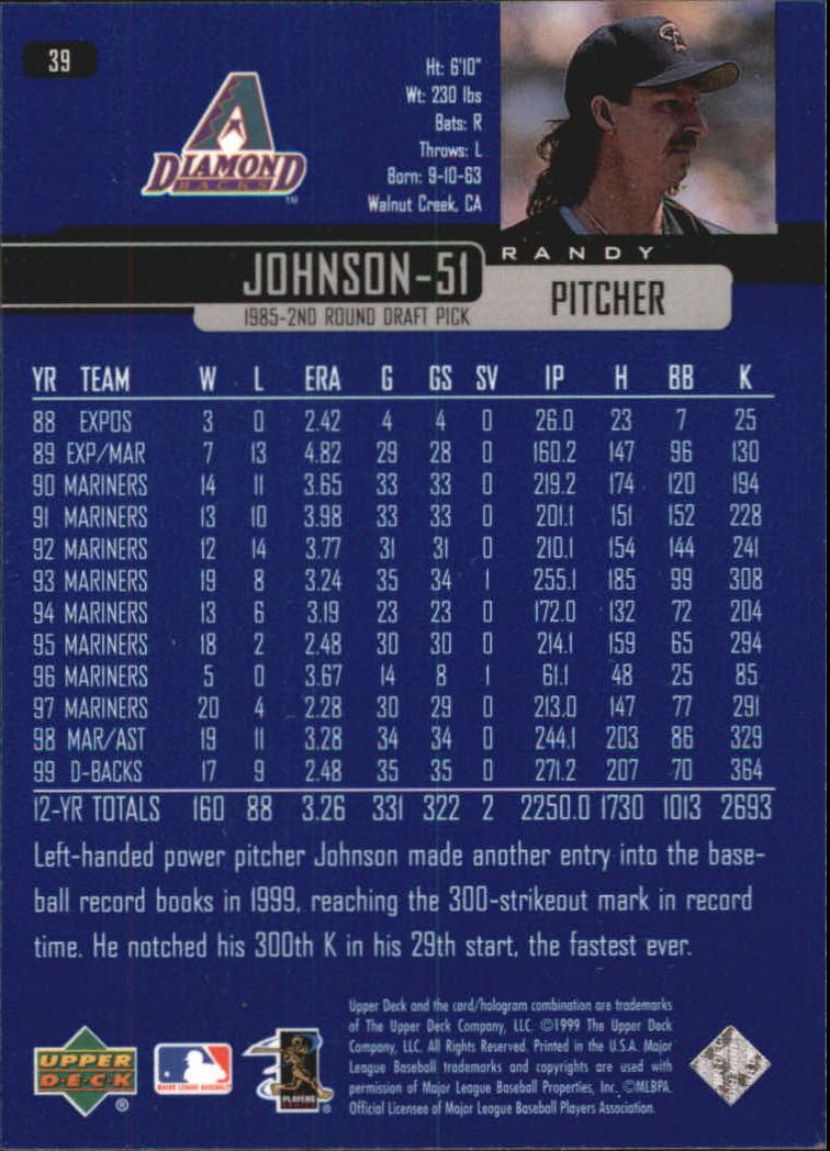 2000 Upper Deck #39 Randy Johnson back image