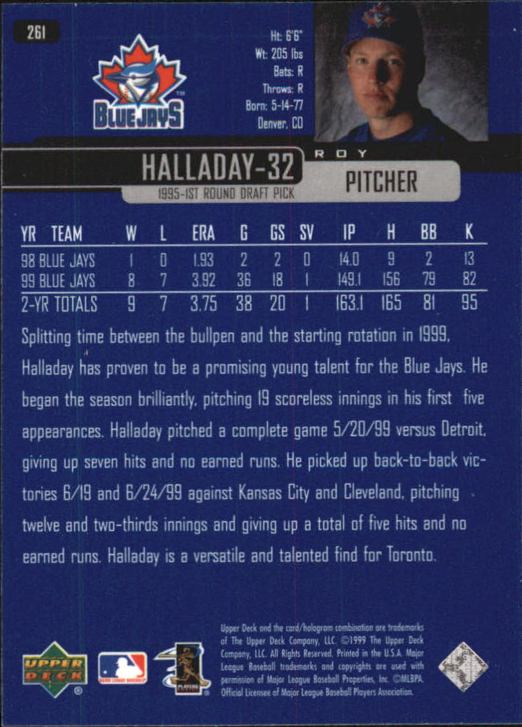 2000 Upper Deck #261 Roy Halladay back image