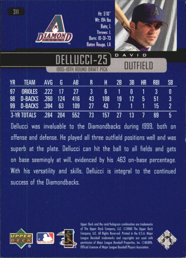2000 Upper Deck #311 David Dellucci back image