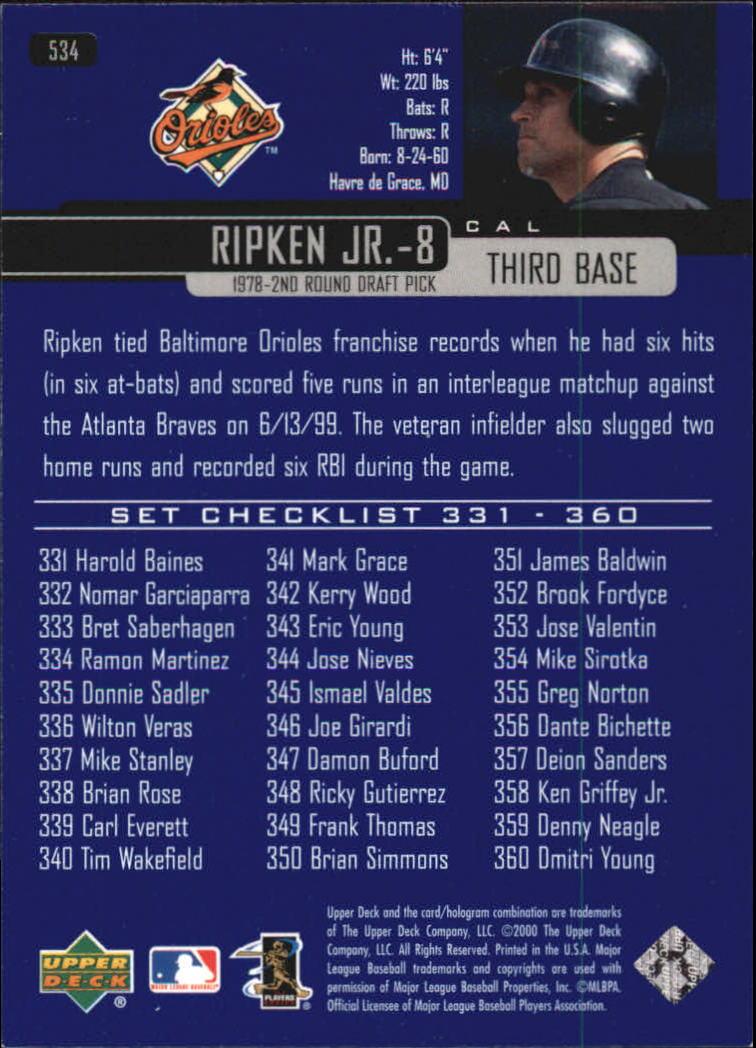 2000 Upper Deck #534 Cal Ripken CL back image
