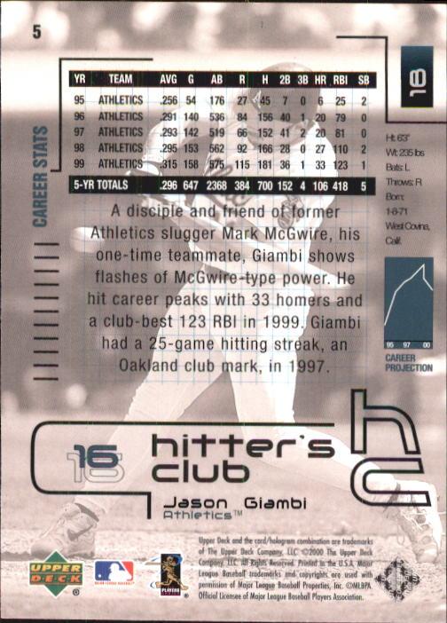 2000 Upper Deck Hitter's Club #5 Jason Giambi back image
