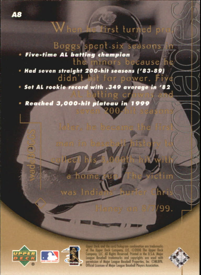 2000 Upper Deck Hitter's Club Accolades #A8 Wade Boggs back image