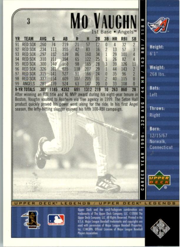 2000 Upper Deck Legends #3 Mo Vaughn back image