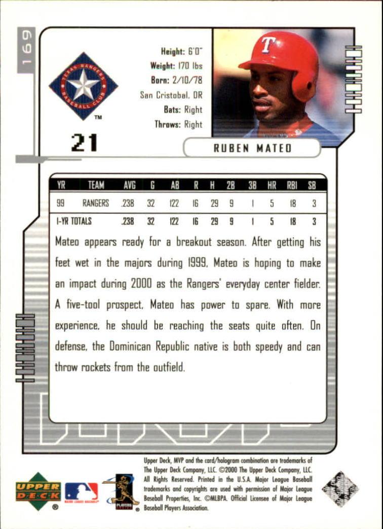 2000 Upper Deck MVP Silver Script #169 Ruben Mateo back image