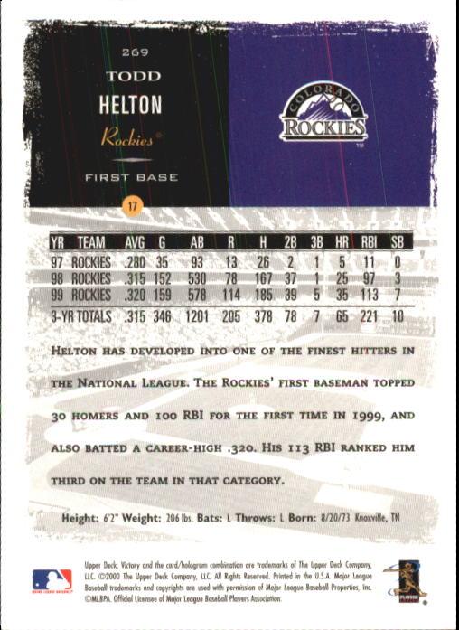 2000 Upper Deck Victory #269 Todd Helton back image