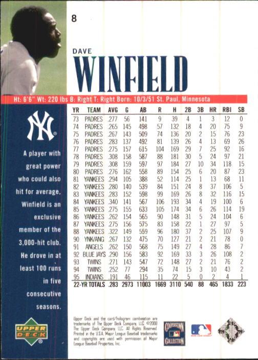 2000 Upper Deck Yankees Legends #8 Dave Winfield back image