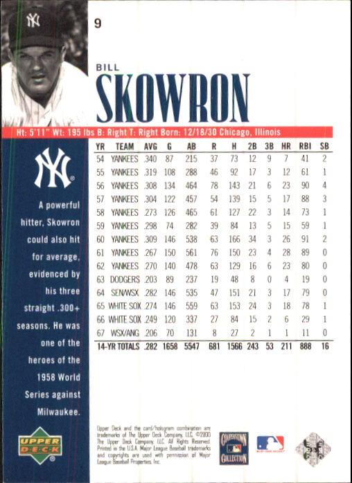 2000 Upper Deck Yankees Legends #9 Bill Skowron back image