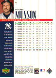 2000 Upper Deck Yankees Legends #13 Thurman Munson back image