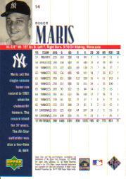 2000 Upper Deck Yankees Legends #14 Roger Maris back image