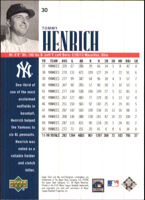 2000 Upper Deck Yankees Legends #30 Tommy Henrich back image