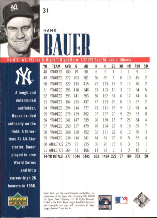 2000 Upper Deck Yankees Legends #31 Hank Bauer back image