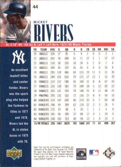 2000 Upper Deck Yankees Legends #44 Mickey Rivers back image