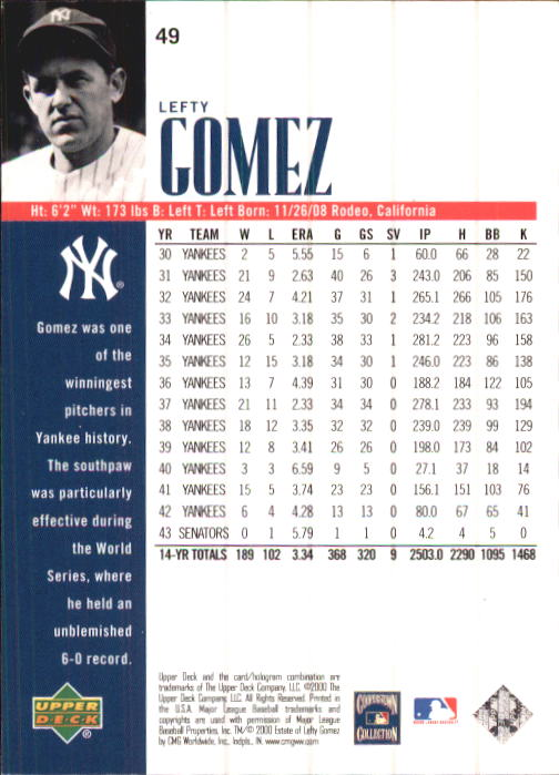2000 Upper Deck Yankees Legends #49 Lefty Gomez back image