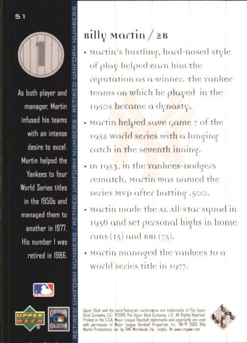 2000 Upper Deck Yankees Legends #51 Billy Martin MN back image