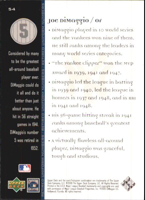 2000 Upper Deck Yankees Legends #54 Joe DiMaggio MN back image