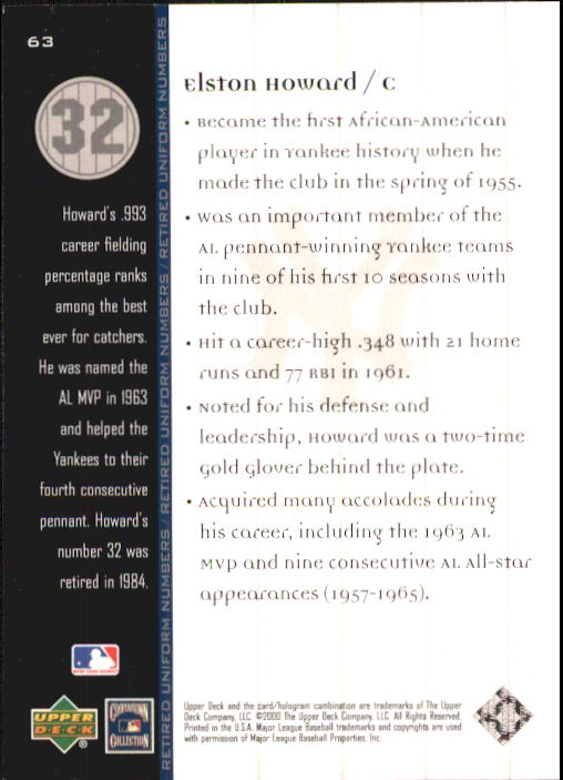 2000 Upper Deck Yankees Legends #63 Elston Howard MN back image